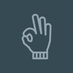 icoon van een hand in een werkhandschoen die het OK-teken maakt