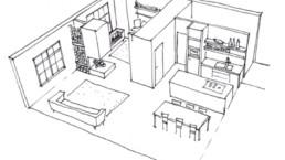 Geschetst 3D-uitwerking van een project door DCS